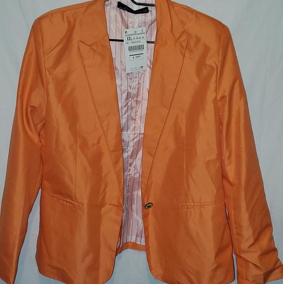 Zara Woman orange Blazer size xl